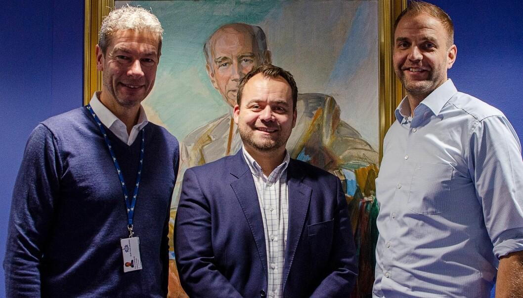 Fra venstre: Oddvar Kruse, IKT direktør i Thon. Christian Flatland, Leder digitale kanaler i Thon. Kristian Borg, CTO Epinova